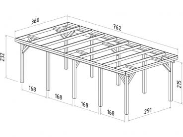 palmako premium einzel carport karl 2 mit abstellraum 3 60 x 7 62 m. Black Bedroom Furniture Sets. Home Design Ideas