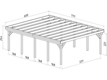 doppel carport karl 40 6m gr e 6 00 x 7 77 m. Black Bedroom Furniture Sets. Home Design Ideas