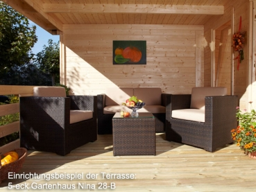 5 eck gartenhaus nina 28 b mit terrasse 6 00 x 3 00 m. Black Bedroom Furniture Sets. Home Design Ideas