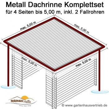 metall dachrinne 4 eck dach 4 x 5 00 m 2 x fallrohr set nr 345. Black Bedroom Furniture Sets. Home Design Ideas