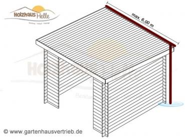 metall dachrinne mit fallrohr f r pultdach bis 6 00 m. Black Bedroom Furniture Sets. Home Design Ideas