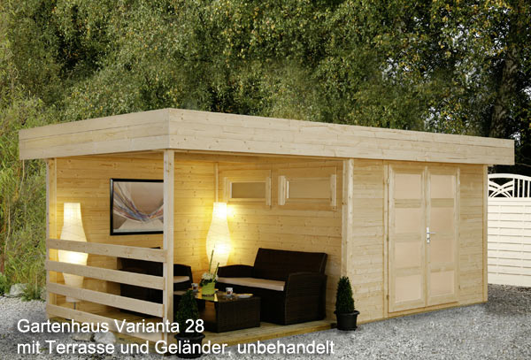 pultdach gartenhaus varianta 28 mit terrasse 5 55 x 2 50 m. Black Bedroom Furniture Sets. Home Design Ideas