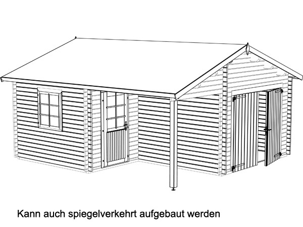 holzgarage roger 21 9 5 2m garage mit carport blockbohlengarage ebay. Black Bedroom Furniture Sets. Home Design Ideas