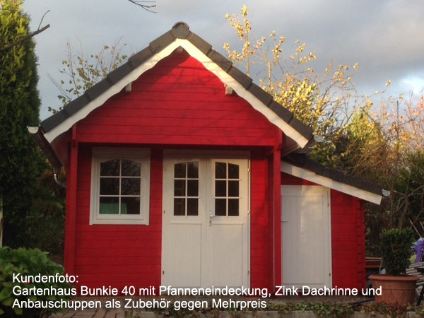 gartenhaus mit schlafboden bunkie 40mm 2 90 x 3 90 m. Black Bedroom Furniture Sets. Home Design Ideas