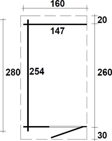 anbauschuppen 28 b1 f r gartenhaus 1 60 x 2 80 m mit. Black Bedroom Furniture Sets. Home Design Ideas